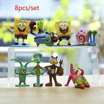 6/8pcs Resin Spongebob Aquarium Decoration Cartoon Spongebob Series Figures Gard