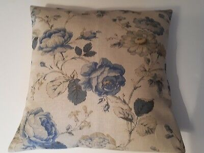 Cushion Cover Warwick Linen Fabric Smokey Blue Cabbage Rose Handmade