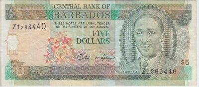 Barbados Banknote P47r-3440   5 Dollars Replacement, F-VF