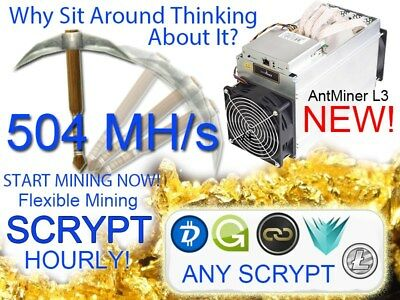 SCRYPT Mining Contract 1 Hour Blocks @ 504MH/s -/+ 5% Slot #1 Ready
