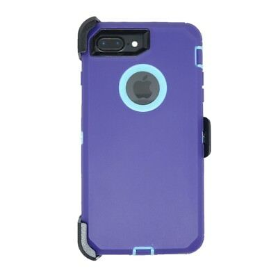 For iPhone 8 Plus Defender Case Cover w/ Belt Clip fits Otterbox Purple Teal