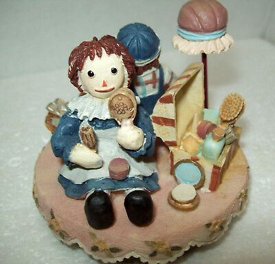 Raggedy Ann & Andy Resin Jar Candle Topper NURSERY KID ROOM Decor Rubber Bottom
