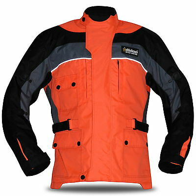 Motorcycle Motorbike Waterproof Textile Thermal Jacket CE Armoured Orange L