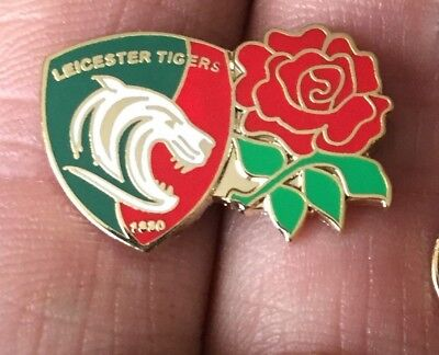 Leicester Tigers-England Rose Twin  Rugby Union Enamel Pin Badge