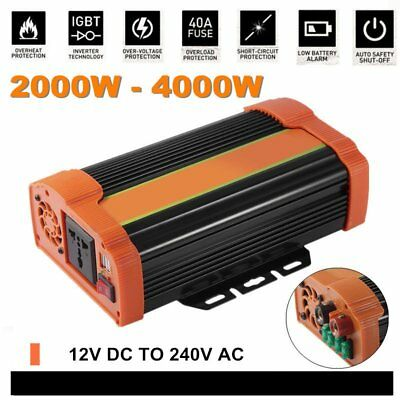 2000W (4000w max) Power Inverter DC 12V to 240V AC  USB Car Battery Charger X5