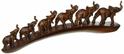 """StealStreet Elephants with Trunks Up in Line Figurine Display, Brown, 12""""."""