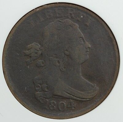 1804 1/2c Draped Bust C-10 Half Cent ANACS VF 20 DETAILS CORRODED SCRATCHED