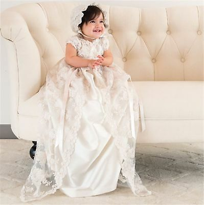 Champagne Antique Christening Dress Lace Baby Long Baptism Gowns Size 18-24M