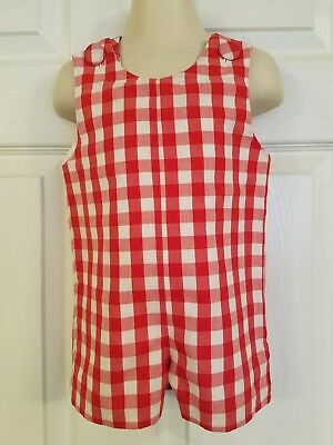 Smocked Auctions Red & White Gingham Shortall sz 6M