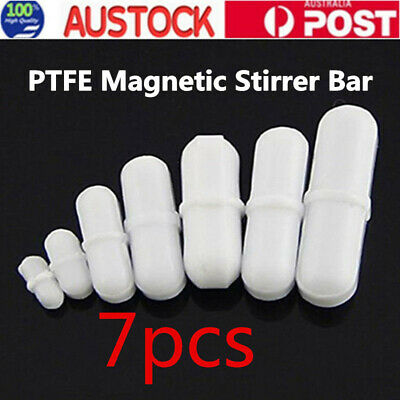 7PCS Magnetic Stirrer Bar Mixer TYPE B PTFE Cover Stir Bar Stirred Lab Solution