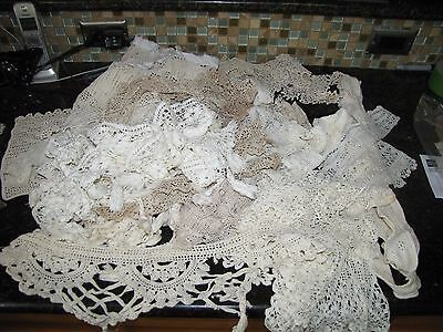 Huge LOT Vintage/Antique lace trim, filet, crochet, cotton, eyelet 3 1/2 lbs