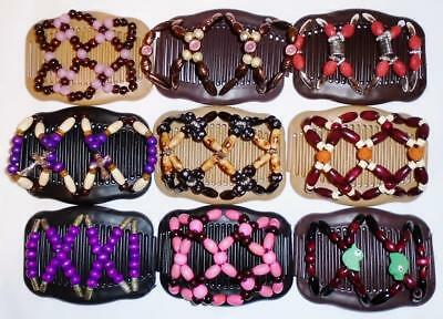 "Double Hair Combs, Angel Wings Clips 4x3.5"", African Butterfly Style,Quality S81"