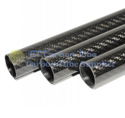 1 x  3K Carbon  fiber tube ID 28mm x OD 30mm x 500mm Long Roll Wrapped Glossy -H