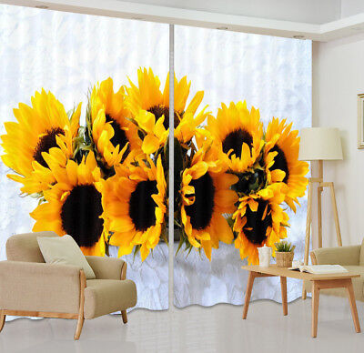 3D Blockout Photo Printing Curtain Sunflower White Drapes Fabric Window Curtains
