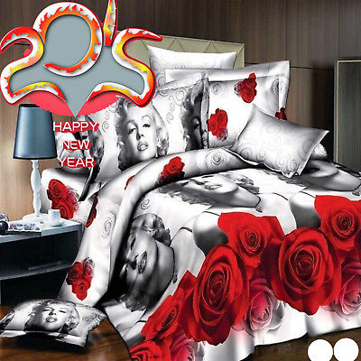 4pcRed Rose Polyester3D Marilyn Monroe 4pc Bedding Set Pillow Case Queen Bedding