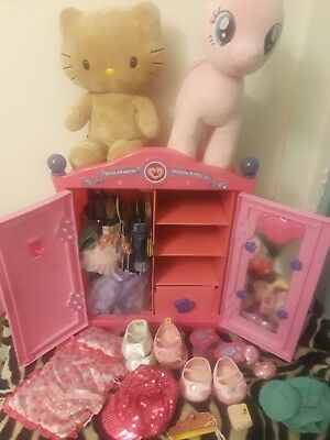 Build A Bear Pink Armoire Dresser Wardrobe Closet Lot Clothes Closet Bears  Bed