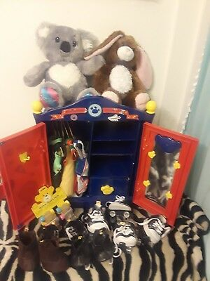 Build A Bear Blue Armoire Dresser Wardrobe Closet Lot Clothes Closet Bears