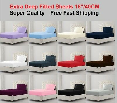 Extra Deep Fitted Sheet Bed Sheets 100%poly Cotton Single Double Super King Size