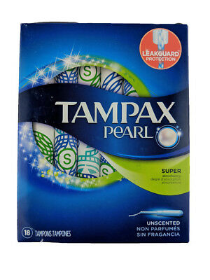 Tampax Pearl Plastic Super Absorbency Unscented Tampons 18 Count