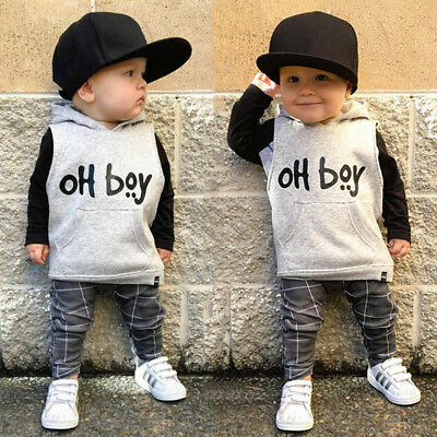 2PCS Baby Boy Spring Autumn Clothes Soft Cotton Hooded Long Sleeve Top+Trousers