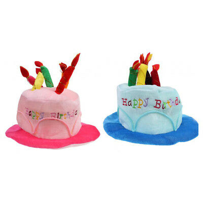2pcs Adults Kids Happy Birthday Hat Cake With Mock Candles Caps Headwear