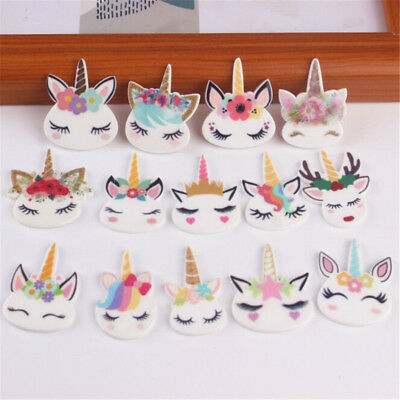 5pcs planar resin cute unicorn head kawaii resin cabochons DIY craft accessor ~~