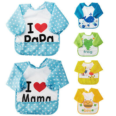 Baby Kid Boy Girl Children water resist Feeding Bib Apron Art Paint Smock shirts