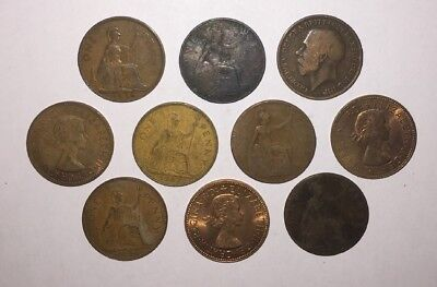 10 Pre Decimal Old British 1d Pennies Large Cent Penny English United Kingdom UK