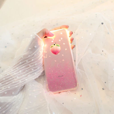 Cute Peach Strawberry Bling Glitter Soft Gel Case Cover For iPhone 7 7 Plus 6s