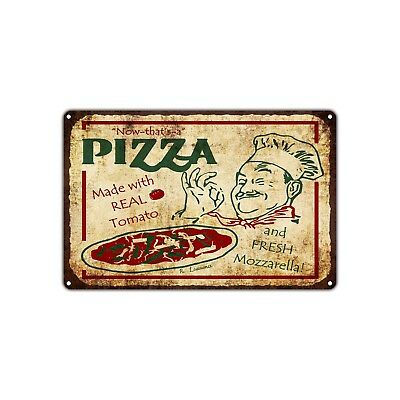 Pizza Made With Real Tomato Vintage Retro Metal Sign Decor Art Shop Man Cave Bar