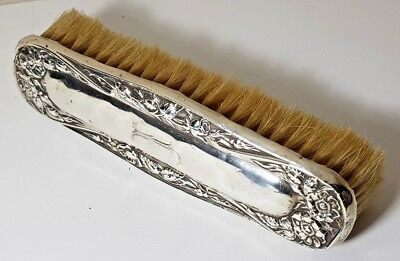 "Antique Silver Clothes Brush - Rosebuds Oxeye Daisies Monogram Initial ""j"" 1909"