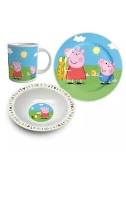 ChildrenDisney Peppa Pig Ceramic Breakfast Set Bowl Mug Plate Kids