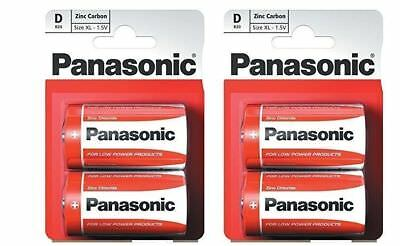2 Packs of Panasonic D Battery Batteries New Zinc Carbon R20 1.5V Exp +2Years