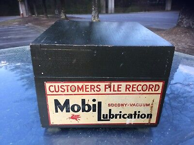 Vintage Mobil Oil Customers File Record Wood Box