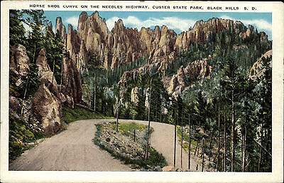 Custer State Park South Dakota USA AK ~1920/30 Horse Shoe Curve Needles Highway