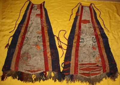 Wonderful Rare Large Pair 18th Century Old Tibet Embroidery Cloth For Buddha 29""
