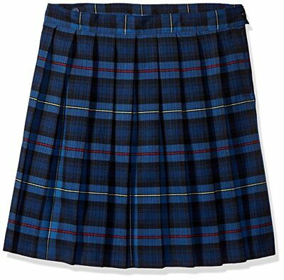 French Toast Girls' Plaid Pleated Skirt,Blue/Red Plaid, Size 14.5 Plus,Skirt