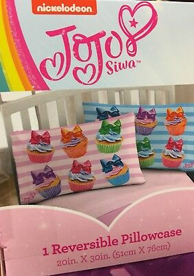 JoJo Siwa Cupcakes Reversible Pillowcase Pink Blue Stripes Rainbow 🌈 Bows 🎀