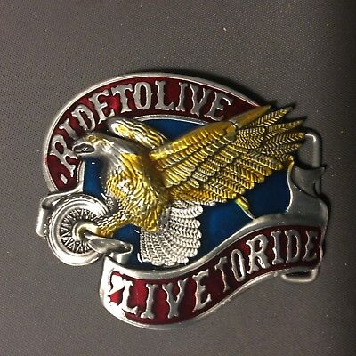 Belt Buckle 'Live To Ride' With Eagle  Biker Motorcycle