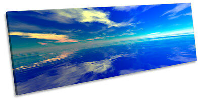 Blue Ocean Seascape Sunset Picture PANORAMA CANVAS WALL ART Print