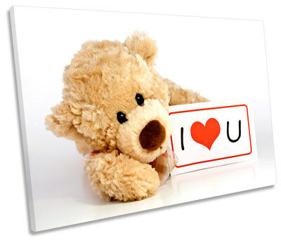 Teddy Bear I Love You Picture SINGLE CANVAS WALL ART Print