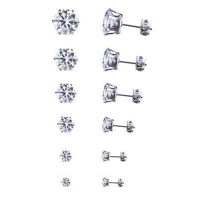 Stainless Steel Round Womens Stud Earring Cubic Zirconia Inlaid 3mm-8mm 6 Pair J