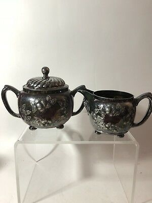 Antique 1881-1890 Barbour Bros Quadruple Silver Flower Creamer Sugar Bowl+lid