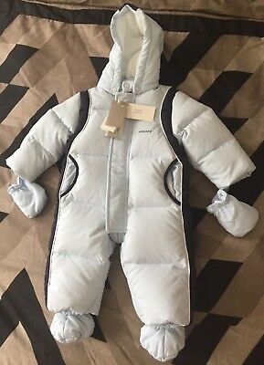 Armani Baby padded hooded snowsuit,       Size-9 Months, Light blue and navy.