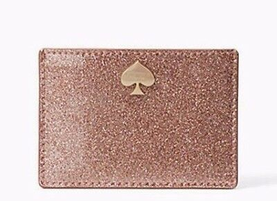 Kate Spade New York NWT Glitter Bug Graham Credit Card Holder Rose Gold $69