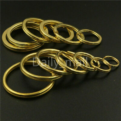 Solid Brass Split Rings Double Loop Key ring 10-38mm Leather Craft hardware