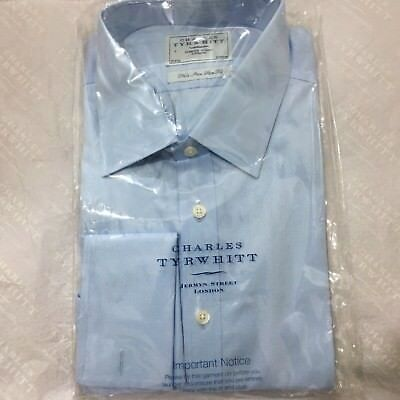 "Mens Blue Shirt CHARLES TYRWHITT 17"" 43cm NON IRON Double Cuff Slim Fit Shirt"