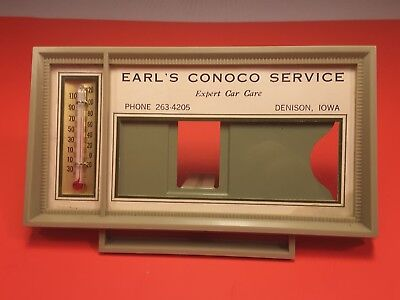 1950's Vintage Advertising Thermometer EARL'S CONOCO SERVICE Denison Iowa
