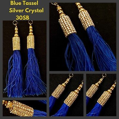 1 X Pair Latkan Blue Silk Tassels Long Crystal Dangles Crafts SewOn Gown Trims