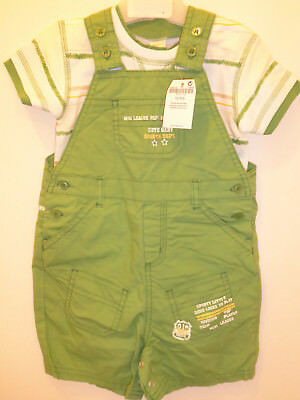 Next - Lovely Baby Boys Bottle Green Dungarees & Top Set 6-9 Months Outfit NEW